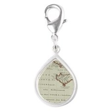 Antique map of the Middle E Silver Teardrop Charm
