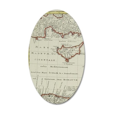 Antique map of the Middle Ea 35x21 Oval Wall Decal
