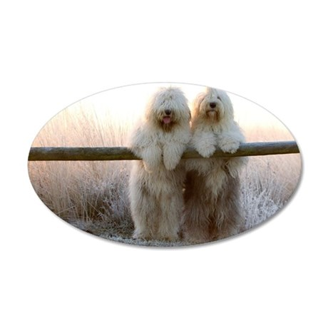 Old English Sheepdogs 35x21 Oval Wall Decal