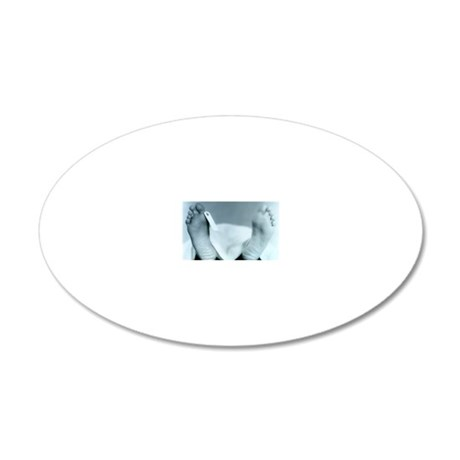 ID tag on cadaver 20x12 Oval Wall Decal
