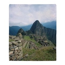 Incan ruins at Machu Picchu, Andes M Throw Blanket