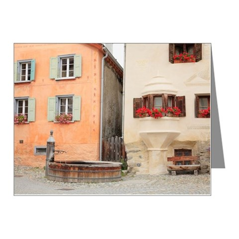 Fountain by Houses Note Cards (Pk of 20)