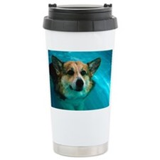 Dog swimming in pool Ceramic Travel Mug