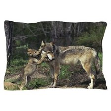 Wolf pup kissing mom Pillow Case