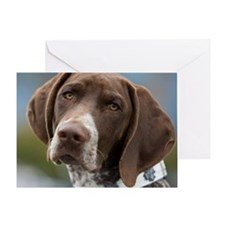 German Shorthair Pointer With Buildi Greeting Card