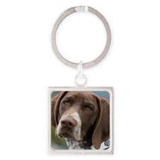 German Shorthair Pointer With Buil Square Keychain