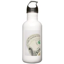 Roll of Dollar notes a Water Bottle