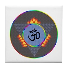 Mystical 3rd Eye Om Symbol Tile Coaster