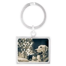 Golden retriever Landscape Keychain