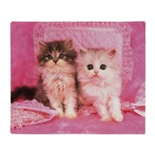Two Kittens Sitting on a Pink Fluffy Throw Blanket
