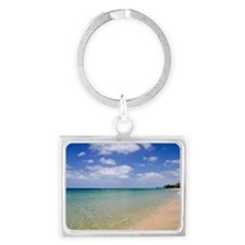 Sea shore at Andaman Beach, Isl Landscape Keychain