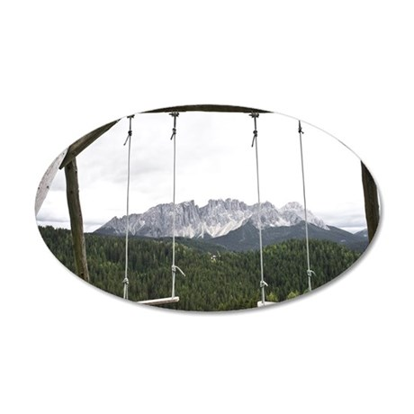 Swings overlooking the Alps, 35x21 Oval Wall Decal