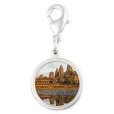 Sunset at Angkor Wat with refl Silver Round Charm