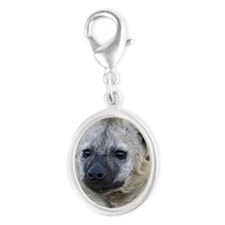 Portrait of a young hyena Silver Oval Charm
