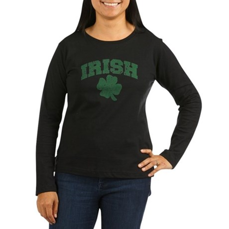 Worn Irish Shamrock Women's Long Sleeve Dark T-Shi