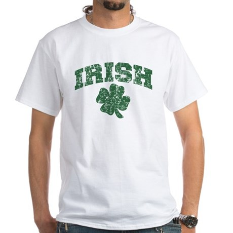 Worn Irish Shamrock White T-Shirt