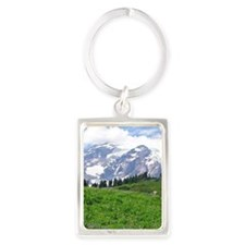 Alpine wildflowers in full bloom Portrait Keychain