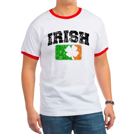 Distressed Irish Flag Logo Ringer T