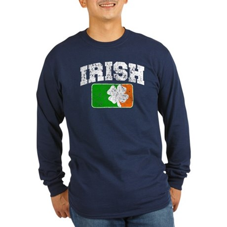 Distressed Irish Flag Logo Long Sleeve Dark T-Shir