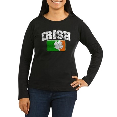 Distressed Irish Flag Logo Women's Long Sleeve Dar