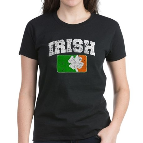Distressed Irish Flag Logo Women's Dark T-Shirt