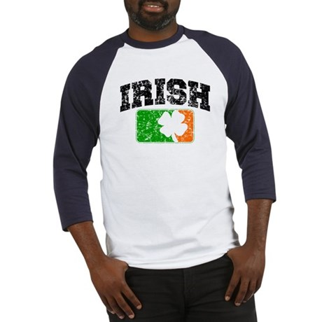 Distressed Irish Flag Logo Baseball Jersey