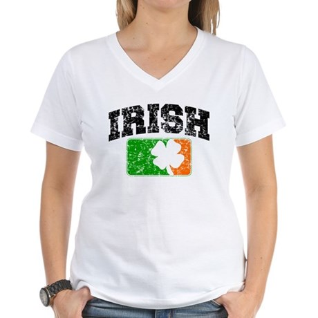 Distressed Irish Flag Logo Women's V-Neck T-Shirt