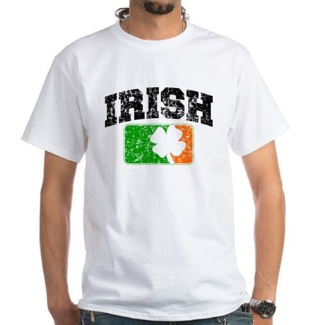 Distressed Irish Flag Logo White T-Shirt