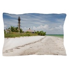 The beach near Sanibel Lighthouse Pillow Case