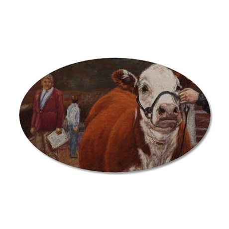 Heifer Class - Hereford 35x21 Oval Wall Decal