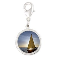 Boat at Sunset Silver Round Charm