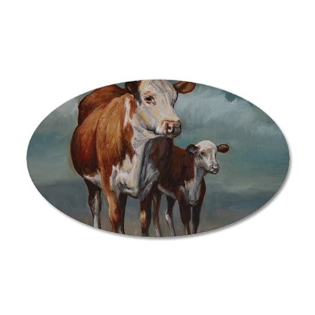 Hereford Cow and Calf in Pas 35x21 Oval Wall Decal