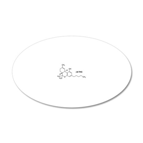Delta 9 THC Molecule 20x12 Oval Wall Decal