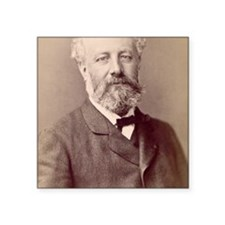 "Jules Verne, French novelis Square Sticker 3"" x 3"""