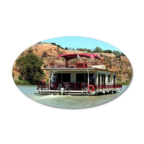 Houseboat on the Murray Rive 35x21 Oval Wall Decal