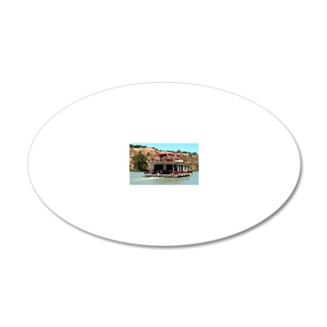 Houseboat on the Murray Rive 20x12 Oval Wall Decal