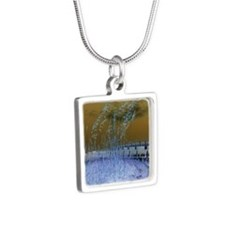 Blue Sea Oats Silver Square Necklace