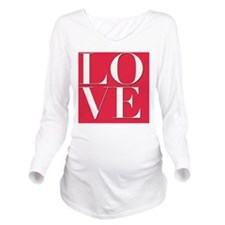 Love (red square) Long Sleeve Maternity T-Shirt