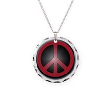 Glowing Red Peace Symbol Necklace Circle Charm