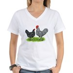 Marans Rooster and Hen Women's V-Neck T-Shirt