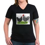 Marans Rooster and Hen Women's V-Neck Dark T-Shirt
