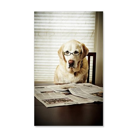 Dog in morning routine 35x21 Wall Decal