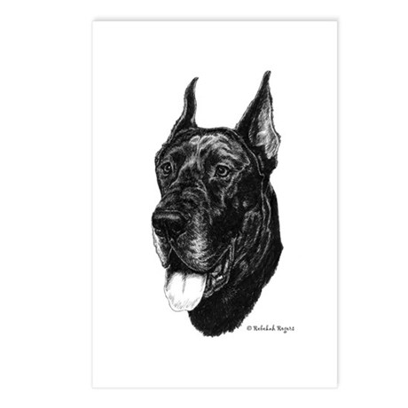 Black Great Dane Postcards (Package of 8)
