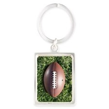 American football on grass Portrait Keychain