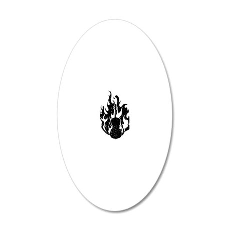 Flaming-Cello-01-a 20x12 Oval Wall Decal