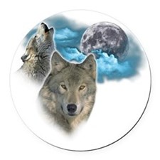 Wolves Moon 2 Round Car Magnet