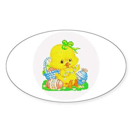 Easter Duckling Oval Sticker