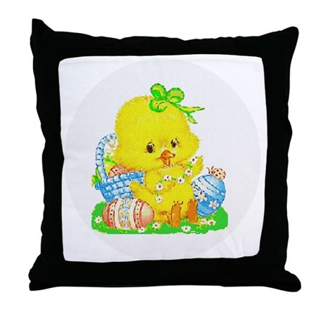 Easter Duckling Throw Pillow