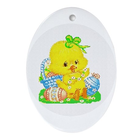 Easter Duckling Oval Ornament