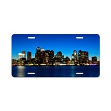 Boston skyline with moon. Aluminum License Plate